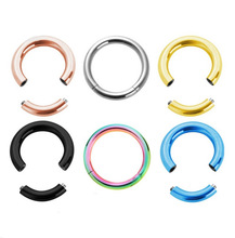1PC 16G Steel Segment Ring Ear Piercing Nose Rings Captive Ear Nose Hoop Piercings Clip on Ear Rings For Women Sex Body Jewelry