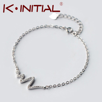 Kinitial 1Pcs 925 Silver Pave Wave Heart Bracelet Heartbeat Pendant Bangle Lightning Heartbeat Bracelets for Women wholesale