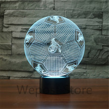 Creative 7 Colors Changing 3D Night Light LED Soccer Sports NightLight Football Visual Table Lamp home decoration Luminaria koln(China)