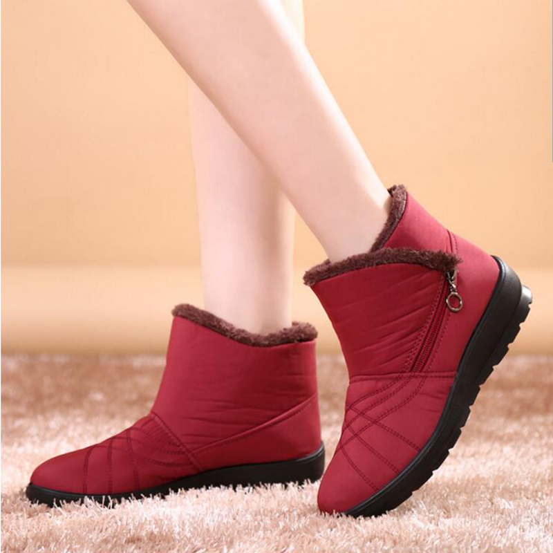 2017 Autumn Winter Casual Snow Boots Waterproof Women Ankle Boots Thermal Flat Slip-resistant Fashion Winter Shoes Woman Boots<br><br>Aliexpress