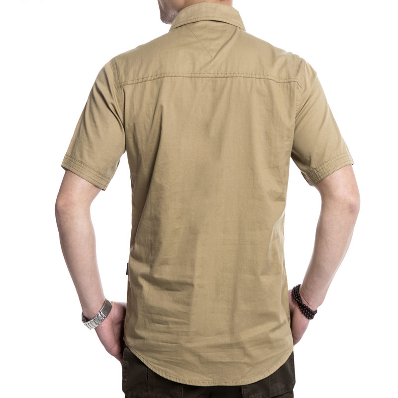 Outdoor Double Pockets Solid Color Casual Short Sleeve Men Cotton Shirt