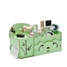 Cute Panda Wooden Cosmetic Box DIY Drawer Type Storage Box Desktop Sundries Women Jewelry Storage Boxes Stationery Storage Case(China)