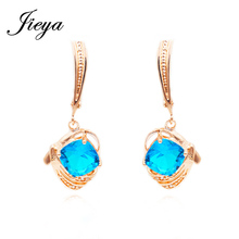 Trendy Hanging 585 Gold Earrings Blue Cubic Zirconia Orecchini Bride Bridesmaid Jewelry Chandelier Crystal Stone Long Earrings