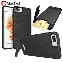 CTRINEWS Armor Case For iPhone 7 7 Plus 8 Luxury Hybrid Hard PC Card Holder Phone Case For iPhone 6 6s Plus TPU Silicone Cover(China)