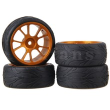 Mxfans 4x RC1:10 On-Road Car Alloy 10-Spoke Wheel Rims & Fish Scale Rubber Tire