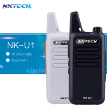 2pcs NKTECH NK-U1 Mini Walkie Talkie UHF 400-470MHz 5W 16 Channels handheld radio Transceiver Two-way Radio 1500mAh BatteryI
