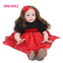 Reborn Toddler Doll 60cm Big Girl Vinyl Soft Lifelike Babies Toys Long Hair Wig Fridolin Baby Alive Real Surprises Doll(China)