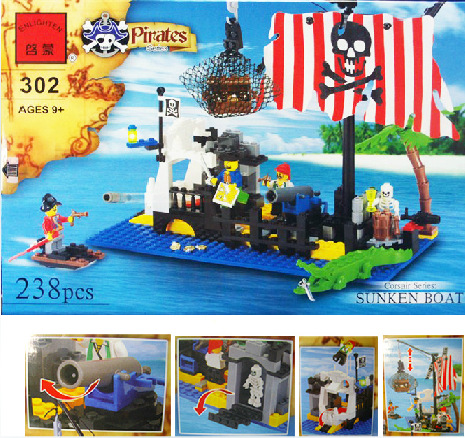 building block set compatible with lego pirates shipwrecks 3D Construction Brick Educational Hobbies Toys for Kids<br><br>Aliexpress