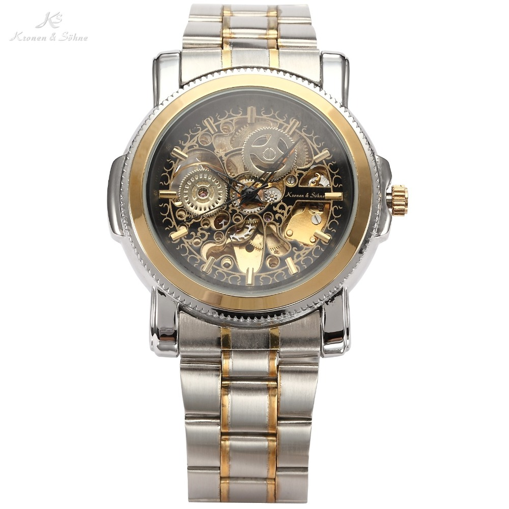 Luxury KS Royal Carving Skeleton Steampunk Automatic Mechanical Golden Stainless Full Steel Dress Business Mens Watch / KS138<br>
