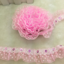 New 5 yards 2-Layer 30mm Pink Printed Polka Dot Organza Lace Gathered Pleated Sequined Trim(China)