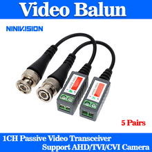 10PCS /5 Pairs  Camera CCTV Passive BNC Video Balun to UTP Transceiver Connector 2000ft Distance Twisted Cable