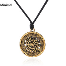 Minimal Gold/sliver Colors Black Sun Kolovrat Slavic PendantSun Wheel Necklace Norse Occult Symbol Amulet Man/Woman Accessories(China)