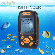Outlife Wire Fish Finder Echo-Sounder Fishing Depth Sounder 125kHz Sonar Sounder Range 0.6-100M Alarm Transducer