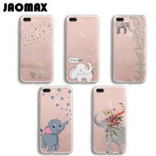 Jaomax Cute Cartoon Animal Elephant Case For iPhone 6 6S 6 Plus 5 5S SE 7 7Plus Transparent Soft Silicone Phone Cases Shell Capa