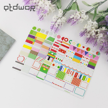 6PCS Korea Creative Office Stationery Paper Sticker DIY Rainbow Colored Transparent stickers Label Directory Decoration Decal(China)