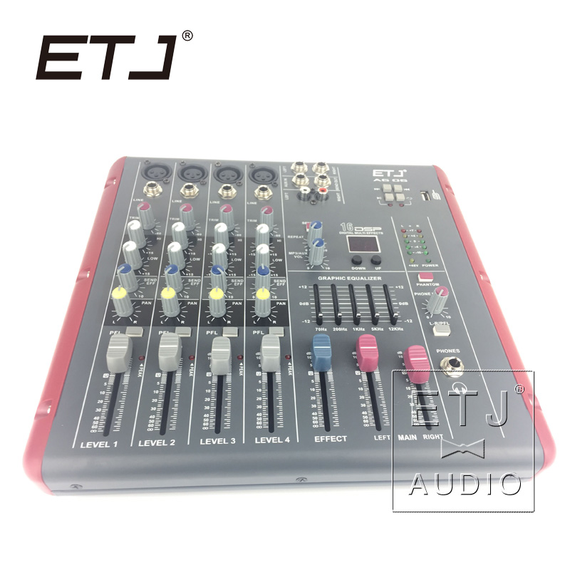 ETJ Brand 16 DSP 4 Channel Ultra low noise Audio Mixer 48V Phantom Power Supply AG06