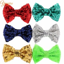 "500pcs/lot 32colors DHL Free Hot-sale Kids Girl 4"" Sequin Glitter Bow without clips DIY Hair Accessories For Kids 2017 Headwear(China)"