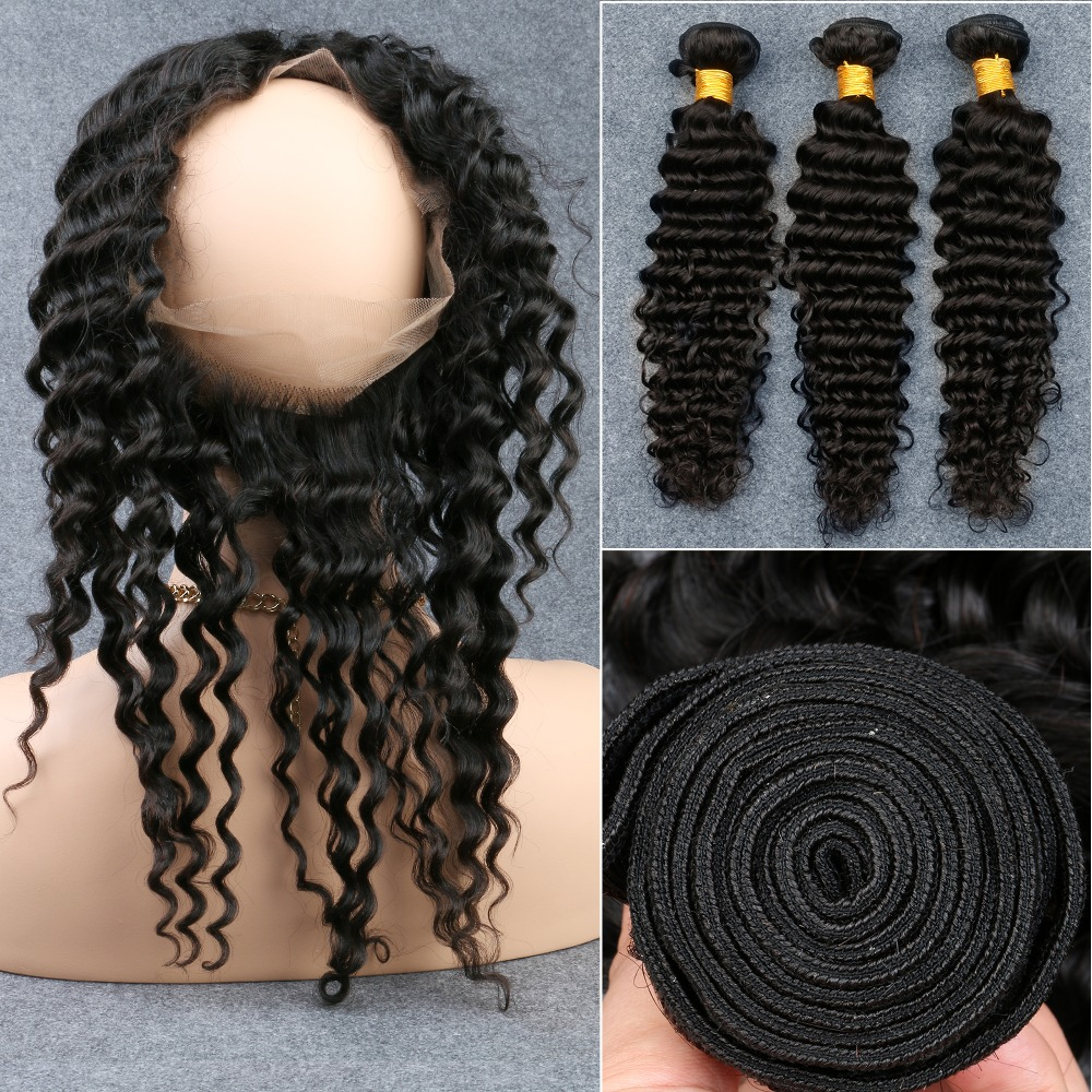 360 Lace Frontal With Bundles Raw Brazilian Virgin Hair With Closure Deep Wave Curly 4 Pcs 360 Lace Frontal Closure With Bundles<br><br>Aliexpress