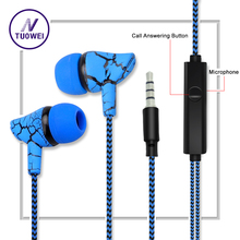Line Control Earphone Cloth Rope Crack Earpieces Stereo Outdoor Bass Game Headset with Mic for All Mobile iphone Xiaomi MP3 MP4(China)