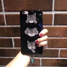 "Cute Cartoon Animal Cat Dog soft tpu Phone Case For iPhone 6plus/6s plus 5.5"" Gel glossy Pattern Cover"