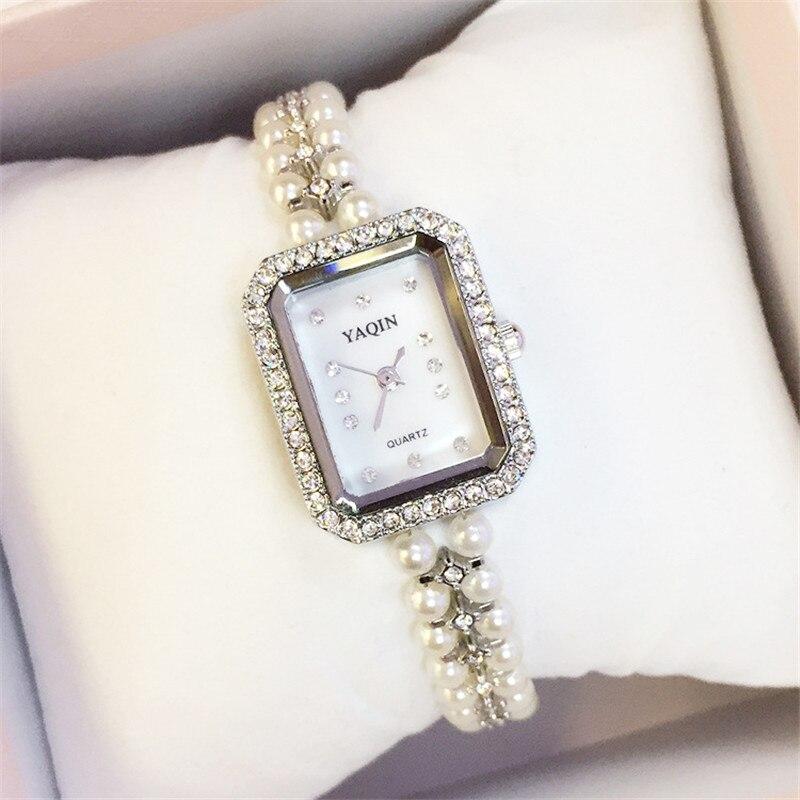 Brand Short Pearl Band Fashion CZ Crystal Rhinestone Women Luxury Watch Rectangle Dial Wristwatch Lady Japan Movement Watches<br><br>Aliexpress