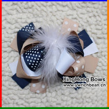 Girl's  Large Boutique In Navy Kaqi White Hair Feather Bow Ribbon Sculpture Hair Clippie fashion hair accessory flowers