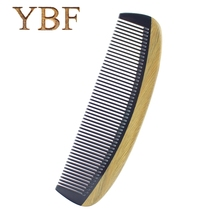 YBF High quality Authentic Natural ox horn Green sandalwood wooden Sessile Combs hair style tool mini pro brush 2016 NEW Brochas(China)
