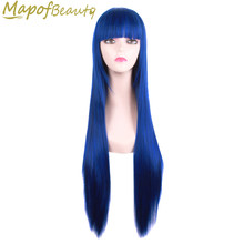 "32"" Long straight hair 15 colors black blonde blue green cosplay wig Female party Heat Resistant synthetic wigs MapofBeauty(China)"
