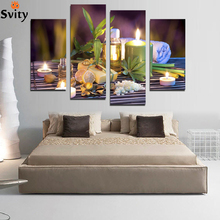 Unframed 4 Panels Purple Bamboo Candle Picture Canvas Print Painting Artwork Wall Art Canvas Painting for SPA HD Print F1774