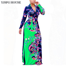YJSFG HOUSE Casual Vintage Women V-neck Printed Evening Party Dresses Long Sleeve Tunic Long Beach Dress Ladies Slim Maxi Robe