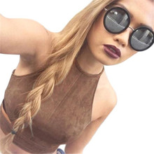 Sexy Tops for Women Unlined Bra Crop Tops Brown Bustier Tank Top Suede Cami Fashion Camisole