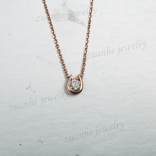 SI Natural Diamonds Women Necklace Pendant Solid 14k Rose Gold Unique Jewelry(China)