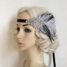 Diamante Fascinator Flapper Headband 1920s Headpiece Ascot Race Wedding Party Women Hair Accessory(China)