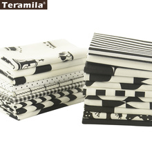 Teramila Cotton Fabric Quilting Charm Packs Fat Quarter Meter 20 Designs Black And White Color Sewing Textile Clothing Tissue(China)