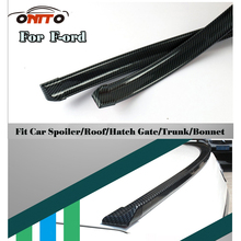 1.5M Car decorative strips Carbon Fiber PU Car Rear Roof Spoiler Wing Lip Stickers Kit For kuga fusion fiesta transit mustang