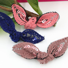 Free Shipping 20PCS/Lot Handmade Sequin Crochet Knot Bow Crafts Fit for Girls Hair Jewelry Garment Clips Decoration