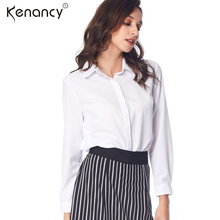 Kenancy 2XL 2 Colors Solid Long Sleeve Blouse OL Special Side Design Womens Tops and Blouses Office Blusas All-match(China)