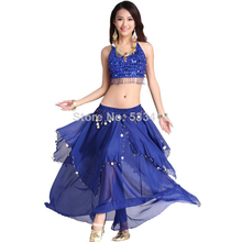 Women belly dacing clothing 5 flowers top+gold coins skirt 2pcs belly dance suit for lady belly dance clothes(China)