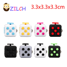 New Magic 9 Styles Fidget Cube Toys Plastic 3.3*3.3cm Squeeze Fun Stress Reliever Click Glide Flip Spin Breathe Roll