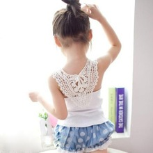 Summer Kid Girl Crochet Hollow Out Floral Tank Tops Tee Shirt Vest Candy Color 0-3Y(China)