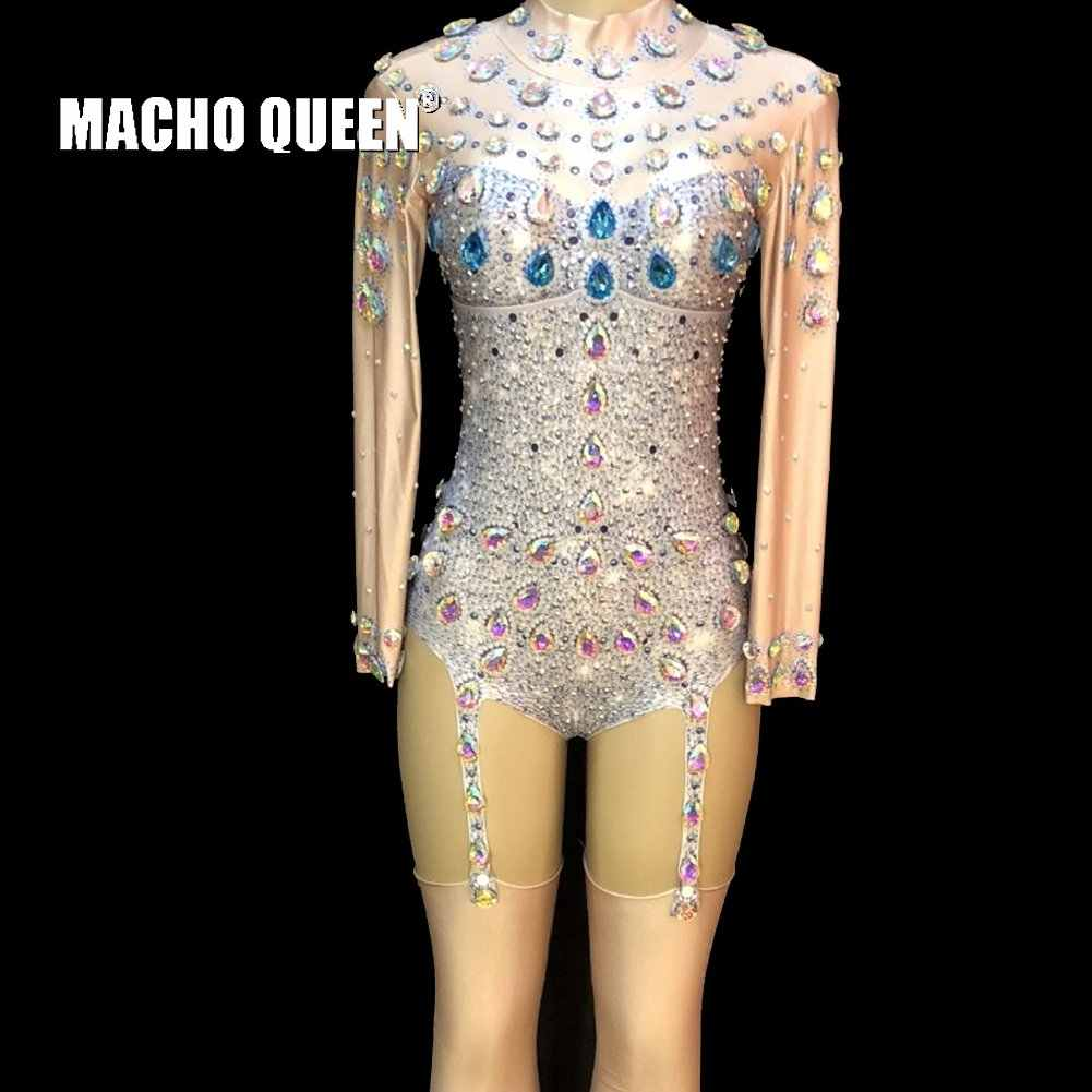 Drag Queen Costumes Rhinestone Jewelry Bodysuit Burning Man Jumpsuit Stage  Dance Wear Celebrity Nightclub Oufits Party 98c6d824d146