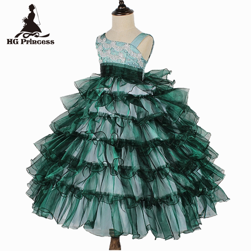Free Shipping 4T-12T Girl Pageant Dress 2017 New Arrival Dark Green Flower Girls Dresses For Weddings Kids Evening Gowns Organza<br>