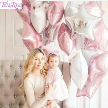 FENGRISE 12pcs 18inch Pink White Star Balloons Happy Birthday Decoration Kids 1st Birthday Party Supplies New Year 2018 Decor(China)