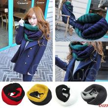 Free shipping Women Wool Neck Warm Infinity 2 Circle Cable Knit Winter Long Scarf Shawl Wrap-O123