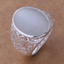 Free Shipping Promotion Silver plated  Ring Fashion Jewerly Ring Women&Men milky white stone /aqmajhta ccsaktza AR420