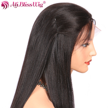 AliBlissWig Light Yaki Silk Top Lace Front Wigs For Black Women Human Hair Wigs With Baby Hair Yaki Straight Brazilian Remy Hair(China)