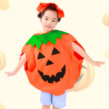 Halloween Orange Pumpkin Costume Suit Party Clothing Clothes for Children Kids(China)