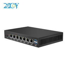 XCY Mini PC 6 LAN Ethernet Gigabit Ports Multiple NIC Run Soft Router Pfsense Firewall Celeron 1037U CPU Fanless minipc Server(China)