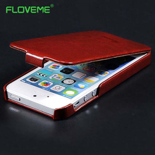 FLOVEME Luxury PU Leather Case for iPhone 4 4S 5 5S se Ultrathin Vintage Crazy Horse Vertical Flip Cover 6 Colors cellphone Bags