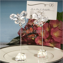Free Shipping 20pcs/lot Wholesale Personalized Clear Crystal Butterfly Place Card Holders Party Stuff Gifts Supplies(China)
